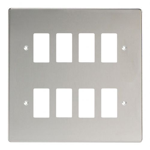 Varilight XDCPG8 PowerGrid Polished Chrome 8-Gang Grid Plate (Double Twin Plate)